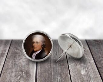 Alexander Hamilton Earrings, 12mm Stud or Dangle Earrings, Hamilton the Musical