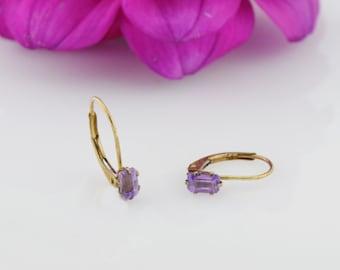 10k Yellow Gold Estate Amethyst Leverback Gemstone Earrings