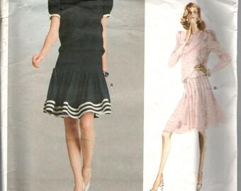 Vogue 2066 American Designer Albert Nipon  Dress with Blouson Bodice, Dropped Waist, Flared & Tucked Skirt