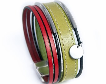 Leather cuff red and pistachio green with steel tubes