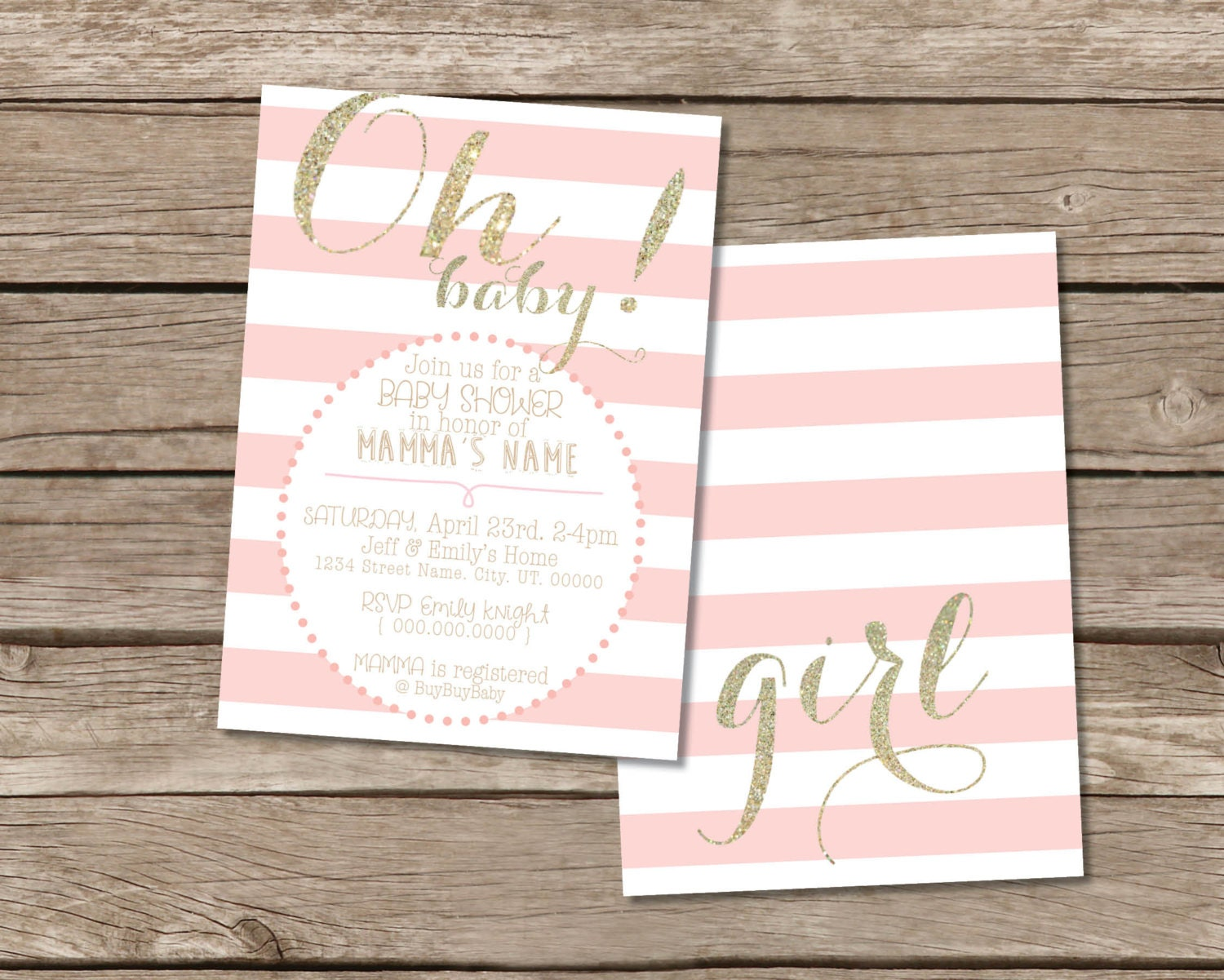 shower faux invitations and simple rose pink a modern gold girl ombre original baby pin card glitter
