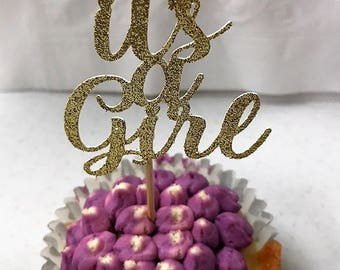 "Set of 12 ""It's a Girl"" or ""It's a Boy"" Cupcake Toppers / Pink and Gold Baby Shower Cupcake Toppers / Baby Blue and Gold Baby Shower Toppers"