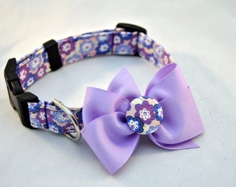 Purple Floral Collar with Bow
