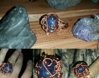 Sodalite Crystal Ring wrapped on Copper Sz 7