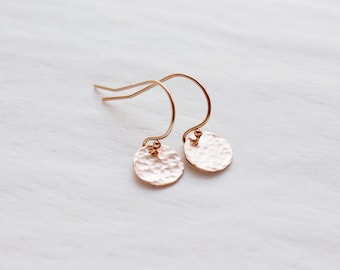 Rose Gold Circle Earrings, Hammered Rose Gold Earrings, Rose Gold Filled Earrings, Dainty Everyday Earrings