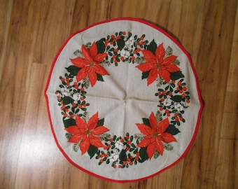 """Vintage Poinsettia and Holy Table Linen - Approximately 18"""""""