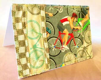 biking 4x6 quilted fabric blank note card suitable for framing