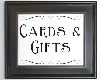 Cards and Gifts Sign Printable DIY Digital File PDF Wedding Sign 4x6 5x7 and 8x10 Fancy Scroll Decor