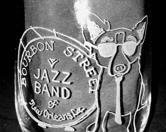 NOLA Blue Dog Glass - hand etched - George Rodrigue New Orleans Artist Jazz Drum Mardis Gras Who Dat Cajun