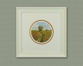 Original Pastel Painting of Poppy Field,Free shipping