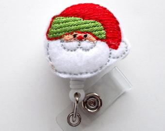 Santa Red and Green - Retractable ID Badge Reel - RN Badge Holder - Nursing Badge - Nurse Badge Holder - Teacher Badge Clip - Holiday Badge