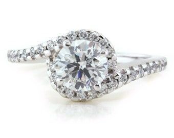 Bypass Halo Moissanite Engagement Ring Diamond Ring - Whirlwind of Love
