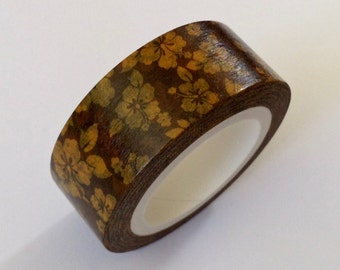 """CLEARANCE  Hawaiian Style, Brown and """"Gold""""(Yellow)  15mm x 10 meters, Planner Washi Tape"""
