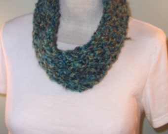 Blue and Green Cowl, Blue and Teal Cowl, Woman's Knit Cowl, Loom Knit Cowl, Neck Warmer, Winter Accessory - Ready to Ship