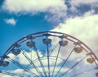 Ferris Wheel Photography, Instant Download, Carnival Ride, Fair Photograph, Retro Home Decor, Children's Room Decor, Digital Download