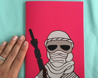 rey (in mask) star wars hand sewn notebook // for kids students teachers //large notebook // back to school // wheres rey // star wars girls