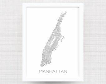 MANHATTAN NEW YORK City Limit Map Print - Manhattan Map - Manhattan Poster - Manhattan Art Print - Manhattan Artwork - New York City Gift