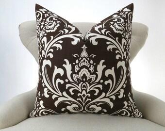 Brown Damask Pillow Cover -MANY SIZES- Chocolate Brown Euro Sham, Brown Cushion, Ecru/Off-White, Ozborne Village Premier Prints, FREESHIP