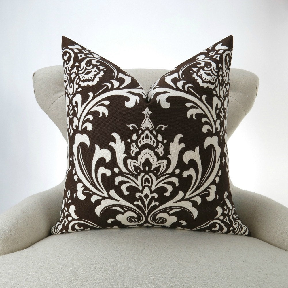 brown damask pillow cover many sizes chocolate brown euro. Black Bedroom Furniture Sets. Home Design Ideas