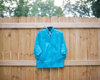 Vintage Teal Leather Bomber Jacket Size L
