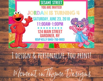 Personalized Elmo Sesame Street Birthday Party Invite Invitation Digital Printable