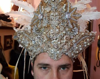 """Headpiece for costume 1700 or unisex fantasy Gold and white """"IVAINE"""""""