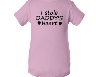 I Stole Daddy's Heart Infant Bodysuit Creeper One Piece Valentines Day Baby Shower Gift - Pink