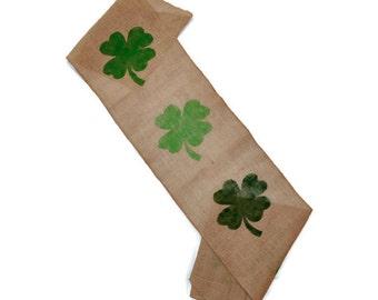 St Patricks Day Table Runner - Shamrock Table Runner - St Patricks Day Burlap Runner - Shamrock Burlap Runner - St Patricks Day Decorations