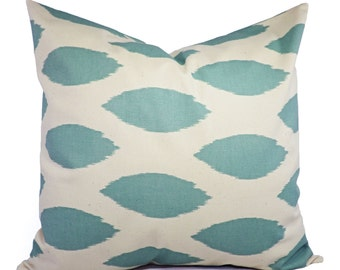 Decorative Pillows - Two Spa Blue Ikat Decorative Pillow Covers Light Blue and Beige - Throw Pillow - Accent Pillow 16x16 18x18 20x20 12x16