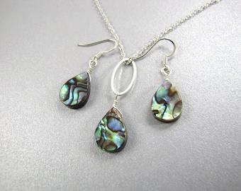 Abalone Earrings and necklace, Paua Shell earrings, Paua shell necklace, silver tear drop lightweight dangle earrings