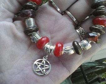 Pagan Wiccan, Spirit of the Owl, Euro style bracelet