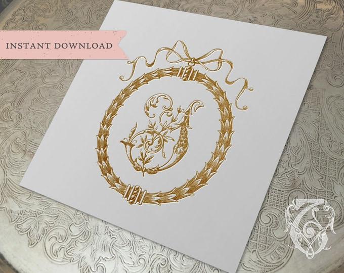 Wedding Crest Vintage Initial Y Wreath Crest Digital Download