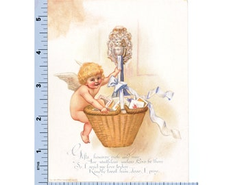 Victorian Valentine - Cupid with Basket of Love Letters Valentines - Prang 1893