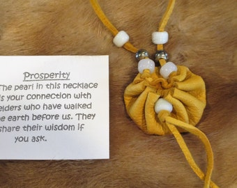 Medicine Pouch, Spirit Bag, Healing Pouch with a Pearl for Prosperity,  Gold Deerskin