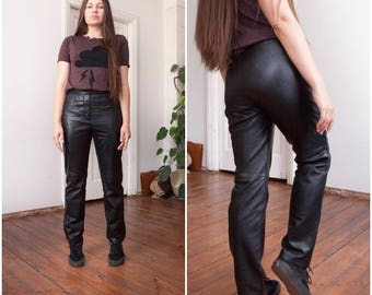 90s Leather Pants Black Leather Trousers High Waisted Leather Pants Womens XS Biker Real Leather Pants Rocker Straight Leg Pants W26 W27 XS