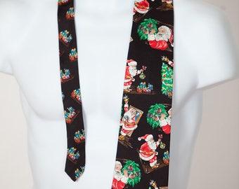 80s 90s Mens Christmas Necktie Santa Claus - WEMBLEY