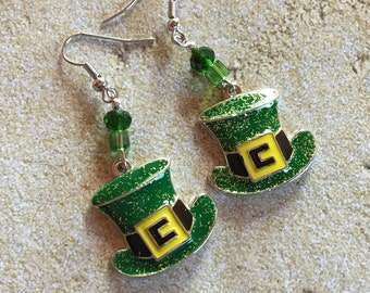 St Patrick's Jewelry, St Patrick's Earrings, Leprechaun Hat Earrings, Green Earrings, Jewelry