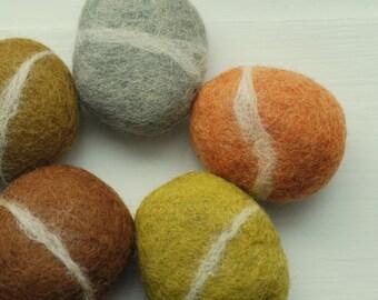 Felted Stones, 5 felted stones grey orange brown grey green ecofriendly decor colorful