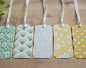 Maiko Blossom - Gift Tag - greens & yellows