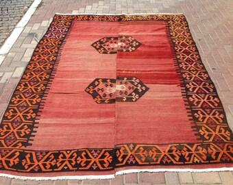 MUTED red kilim, Turkish kilim rug, red area rug, kilim rug, kelim rug, vintage rug, red rug, rustic rug, rugs, tribal rug, floor rug, 604