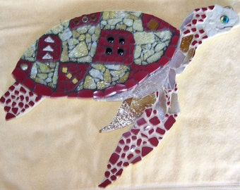Turtle Mosaic Wall Art Sea Turtle red and gold ocean life sea life