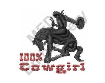 100% Cowgirl - Machine Embroidery Design, Cowgirl, Horse