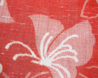 342: Vintage woman's kimono/casual/wool fabric/butterfly/red white 70's retro