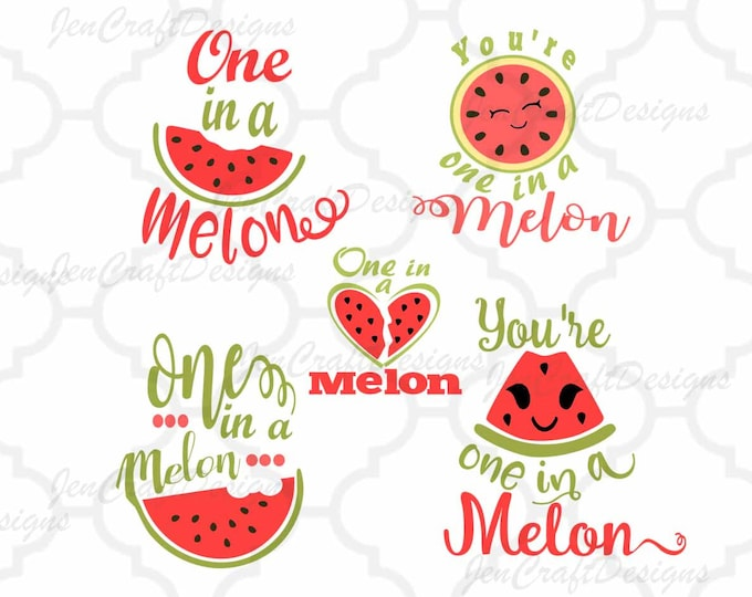 Featured listing image: One in a Melon SVG, Watermelon svg Cuttable Design Bundle SVG, Dxf, Eps, Png Cut File Clipart Cricut Explorer, Silhouette Art, Heat Transfer