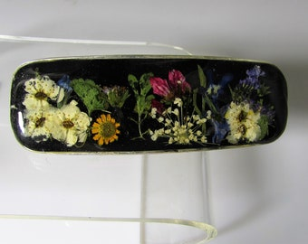 Garden at Night,  Real Flowers Barrette, Pressed Flowers Jewelry, Real Flower Jewelry, (3119)