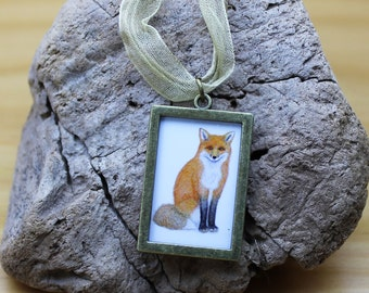 Red Fox Necklace, Woodland Animal Miniature Picture Frame Pendant, Jewellery Antique Bronze or Silver Colour
