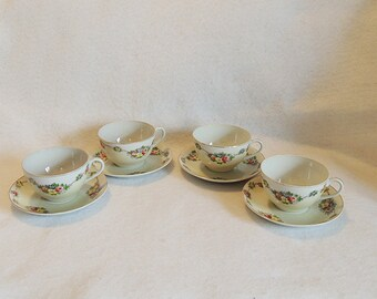 4 Matching Sets Vintage Cup & Saucer Occupied Japan.. Hand Painted Floral