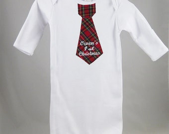 Baby's 1st Christmas, Merry Christmas, or Christmas 2012 Necktie Tie Layette Gown Personalized. Baby's First Holiday.
