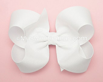 White Hair Bow, 4 inch Boutique Bow, Large Grosgrain Bow for Girls, Basic Hairbow, White Bow for Baby, Toddler Girls, White Boutique Bow