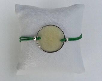 Green meadow bracelet clear sequin